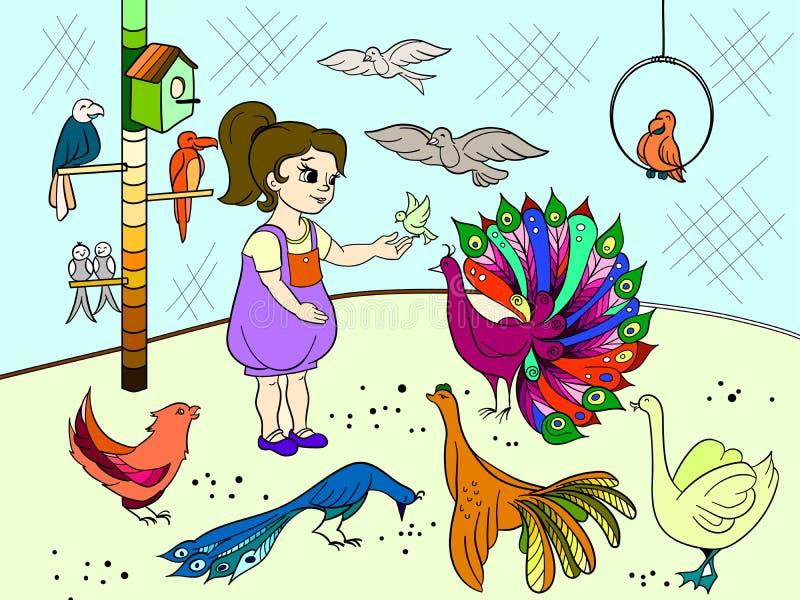 Τα κινούμενα σχέδια των παιδιών χρωματίζουν το ζωολογικό κήπο πουλιών επαφών Βιβλίο εικόνων πουλιών Ορνιθολογία για το κορίτσι διανυσματική απεικόνιση