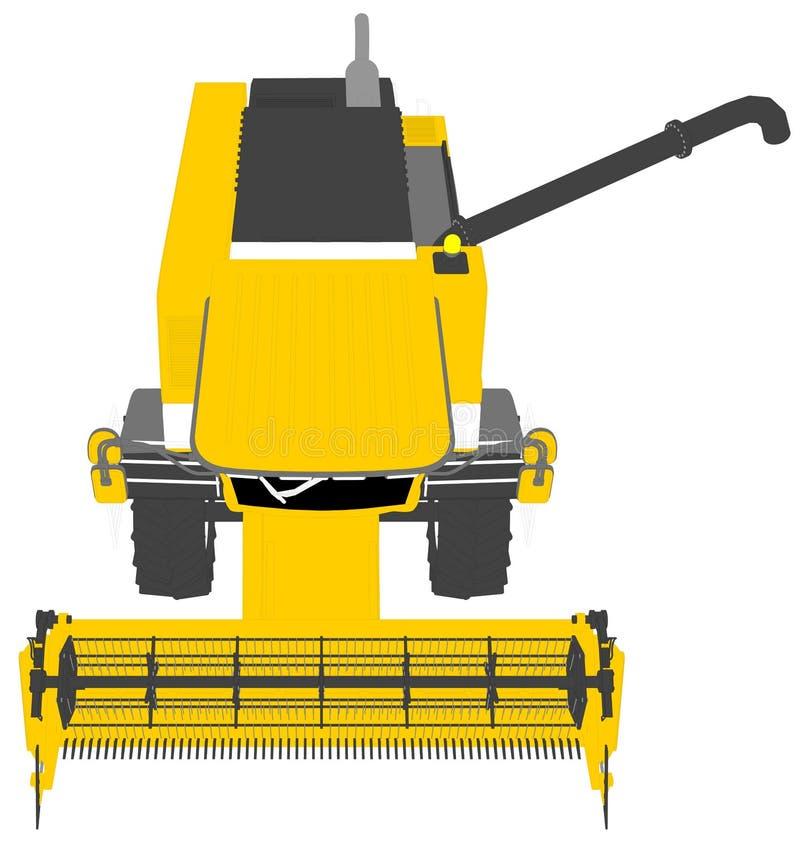 Τα κινούμενα σχέδια χρωμάτισαν το τρισδιάστατο πρότυπο κίτρινου αγροτικού συνδυάζουν τη θεριστική μηχανή με το σωλήνα σιταριού στ ελεύθερη απεικόνιση δικαιώματος