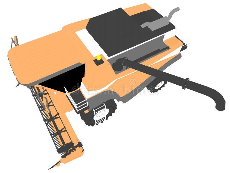 Τα κινούμενα σχέδια χρωμάτισαν το τρισδιάστατο πρότυπο πορτοκαλιού αγροτικού γεωργικού συνδυάζουν τη θεριστική μηχανή με το σωλήν διανυσματική απεικόνιση