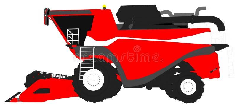 Τα κινούμενα σχέδια χρωμάτισαν το τρισδιάστατο πρότυπο της μεγάλης κόκκινης γεωργικής θεριστικής μηχανής σιταριού στο λευκό, τέχν διανυσματική απεικόνιση