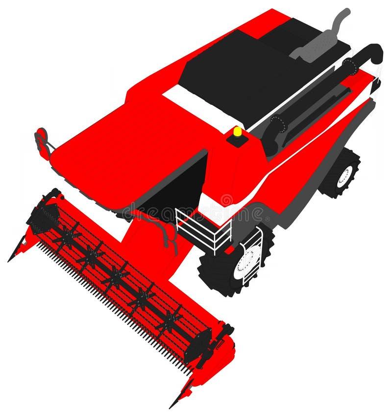 Τα κινούμενα σχέδια χρωμάτισαν το τρισδιάστατο πρότυπο της μεγάλης κόκκινης σίκαλης συνδυάζουν τη θεριστική μηχανή στο λευκό, τέχ διανυσματική απεικόνιση