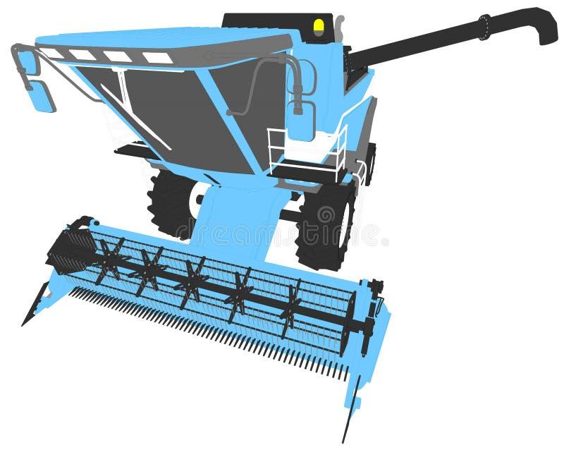 Τα κινούμενα σχέδια χρωμάτισαν το τρισδιάστατο πρότυπο του μπλε συνδυάζουν τη θεριστική μηχανή με το σωλήνα συγκομιδών που απομον απεικόνιση αποθεμάτων