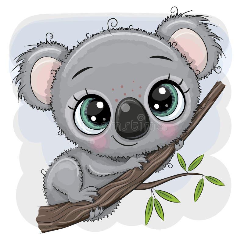 Τα κινούμενα σχέδια Koala κάθονται σε ένα δέντρο διανυσματική απεικόνιση