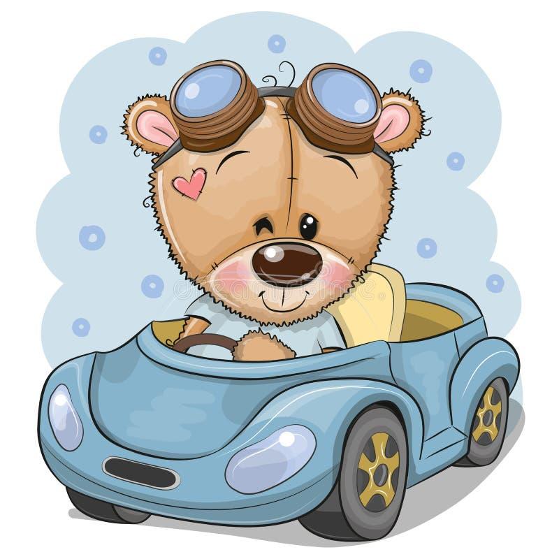 Τα κινούμενα σχέδια Teddy αντέχουν στα γυαλιά πηγαίνουν σε ένα μπλε αυτοκίνητο απεικόνιση αποθεμάτων
