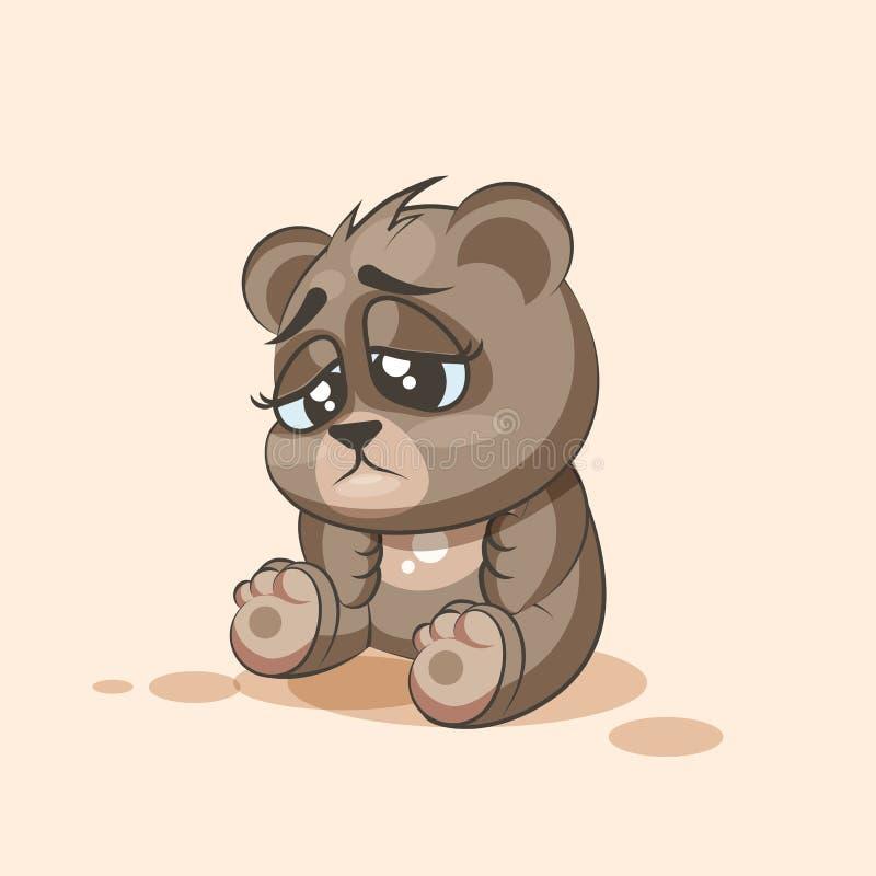 Τα κινούμενα σχέδια χαρακτήρα Emoji αντέχουν τη λυπημένη και ματαιωμένη αυτοκόλλητη ετικέττα emoticon διανυσματική απεικόνιση
