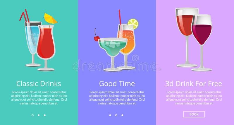 Τα κλασικά και τρισδιάστατα ποτά ro δωρεάν έχουν τον καλό χρόνο διανυσματική απεικόνιση