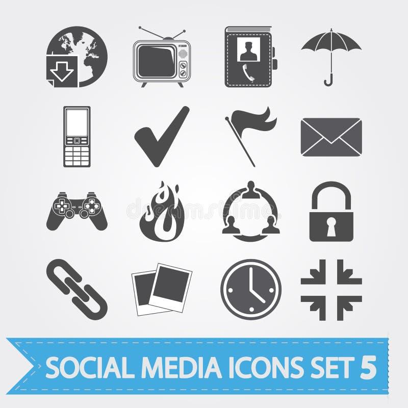 Τα κοινωνικά εικονίδια μέσων θέτουν 5 απεικόνιση αποθεμάτων