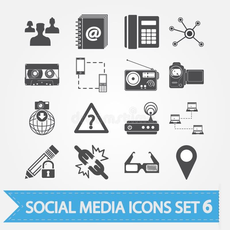 Τα κοινωνικά εικονίδια μέσων θέτουν 6 ελεύθερη απεικόνιση δικαιώματος