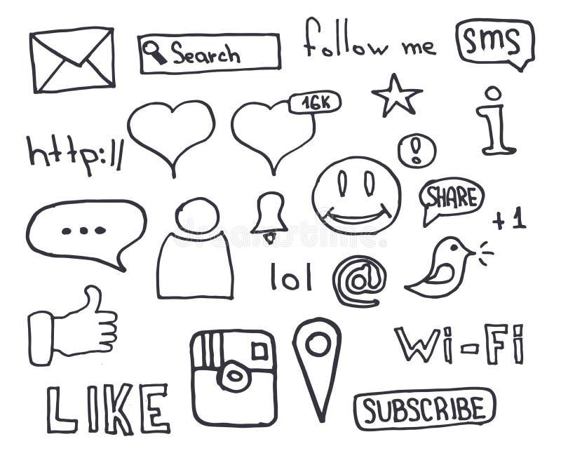 Τα κοινωνικά εμβλήματα MEDIA με το χέρι σύρουν doodle το υπόβαθρο επίσης corel σύρετε το διάνυσμα απεικόνισης απεικόνιση αποθεμάτων