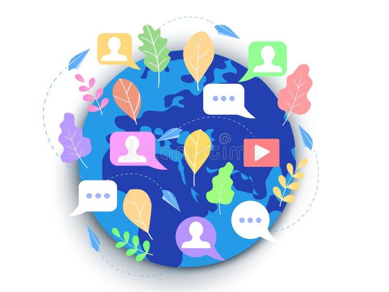 Τα κοινωνικά μέσα έννοιας, που, κουβεντιάζουν, για ιστοσελίδας, το έμβλημα, pres διανυσματική απεικόνιση