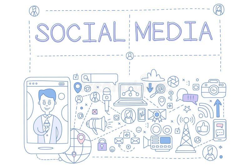 Τα κοινωνικά μέσα θέτουν, επικοινωνία στα παγκόσμια δίκτυα υπολογιστών, στοιχείο σχεδίου για το έμβλημα, αφίσα, φυλλάδιο, ιπτάμεν διανυσματική απεικόνιση