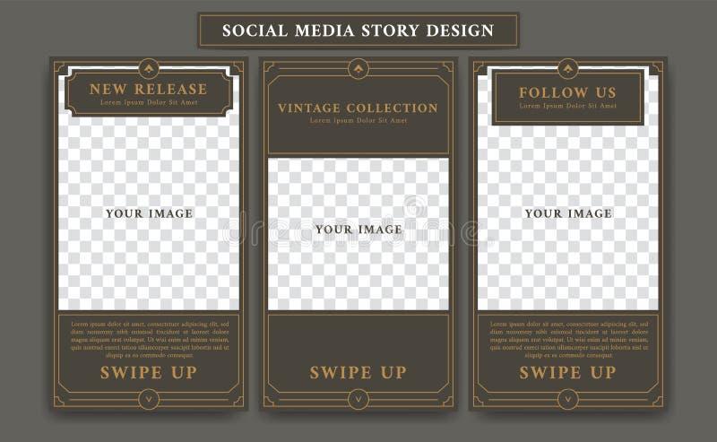 Τα κοινωνικά μέσα ιστορίας Instagram Editable σχεδιάζουν το πρότυπο στο εκλεκτής ποιότητας ύφος πλαισίων artdeco αναδρομικό απεικόνιση αποθεμάτων