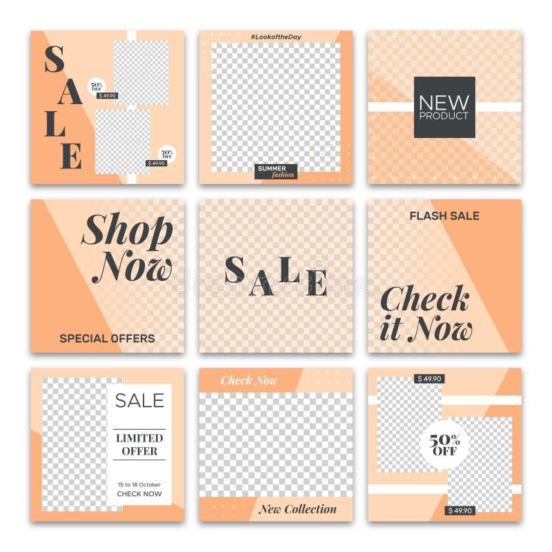 Τα κοινωνικά μέσα οδοντώνουν το χαριτωμένο πρότυπο εμβλημάτων πώλησης μόδας καταστημάτων διανυσματική απεικόνιση