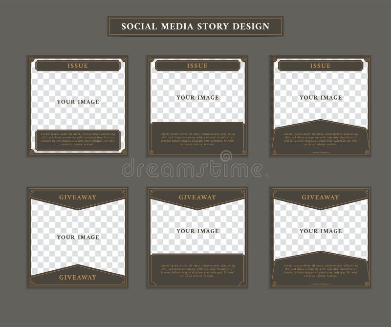 Τα κοινωνικά μέσα ταχυδρομούν το πρότυπο στο τετραγωνικό μεγέθους εκλεκτής ποιότητας αναδρομικό τέχνης θέμα ύφους deco βικτοριανό απεικόνιση αποθεμάτων