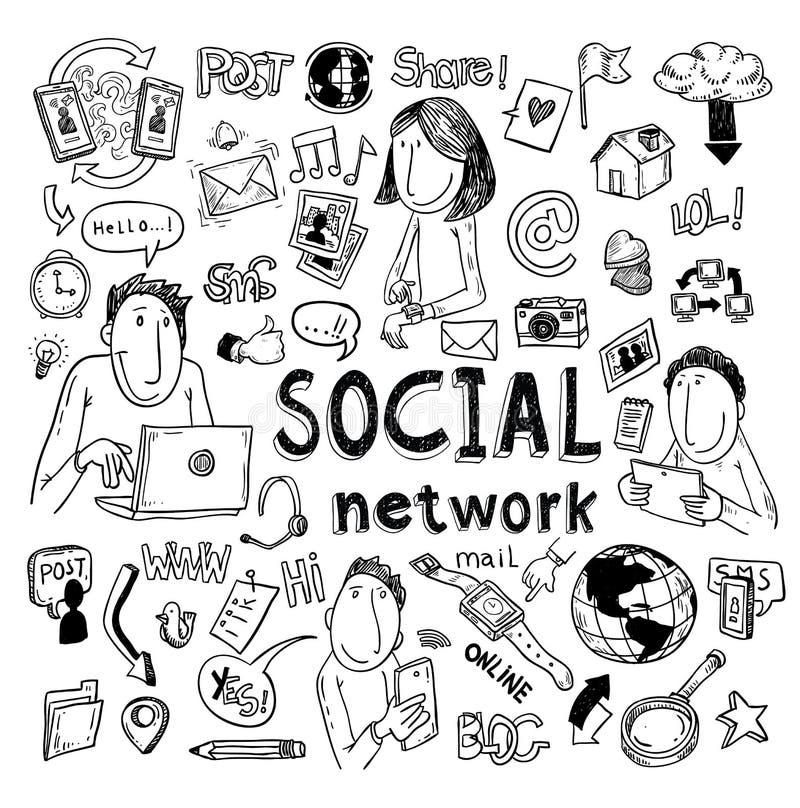Τα κοινωνικά μέσα doodle θέτουν hand-drawn διανυσματική απεικόνιση διανυσματική απεικόνιση