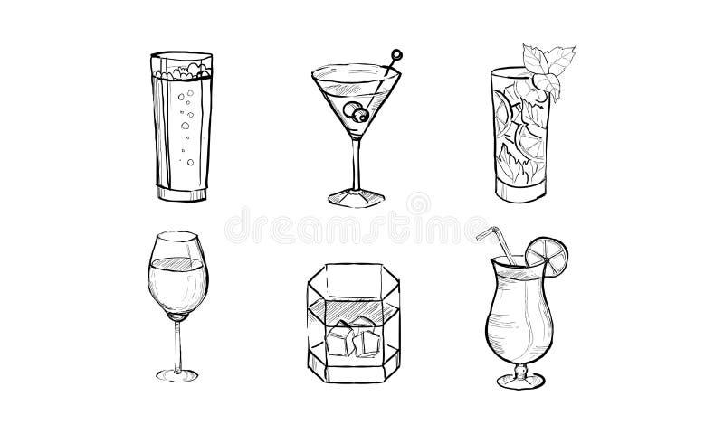 Τα κοκτέιλ και τα ποτά οινοπνεύματος καθορισμένα δίνουν τη συρμένη διανυσματική απεικόνιση σε ένα άσπρο υπόβαθρο ελεύθερη απεικόνιση δικαιώματος