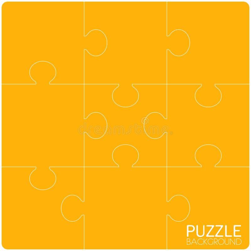Τα κομμάτια μπερδεύουν το κίτρινο υπόβαθρο, έμβλημα, κενό ελεύθερη απεικόνιση δικαιώματος