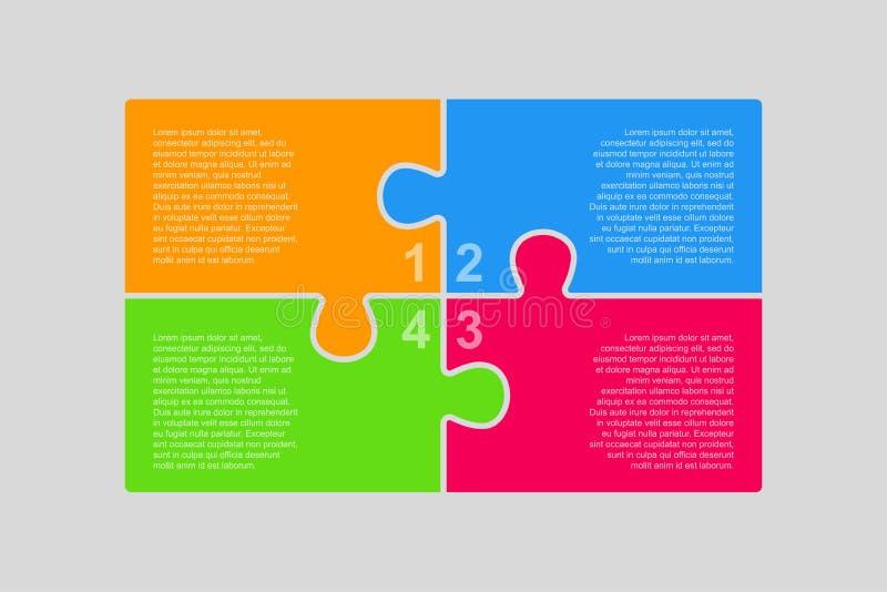 Τα κομμάτια Infographic γρίφων Διάγραμμα τεσσάρων βημάτων διανυσματική απεικόνιση