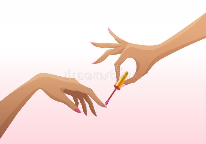Τα κομψά θηλυκά χέρια κάνουν το καρφί μανικιούρ να γυαλίσει επίσης corel σύρετε το διάνυσμα απεικόνισης απεικόνιση αποθεμάτων