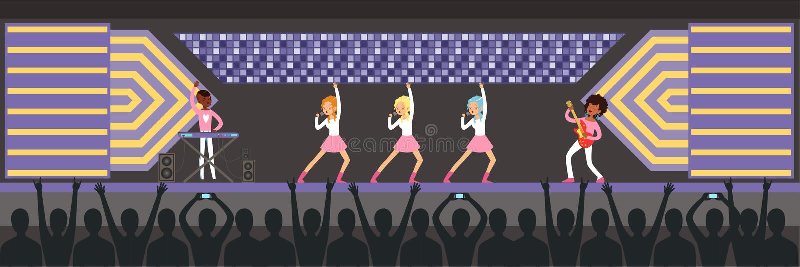 Τα κορίτσια ενώνουν το τραγούδι τραγουδιού στη σκηνή, μουσική ομάδα εκτελώντας μπροστά από το μεγάλο ακροατήριο συναυλίας το οριζ ελεύθερη απεικόνιση δικαιώματος