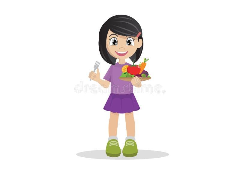Τα κορίτσια επιθυμούν να φάνε τα λαχανικά και τα φρούτα στοκ εικόνες με δικαίωμα ελεύθερης χρήσης