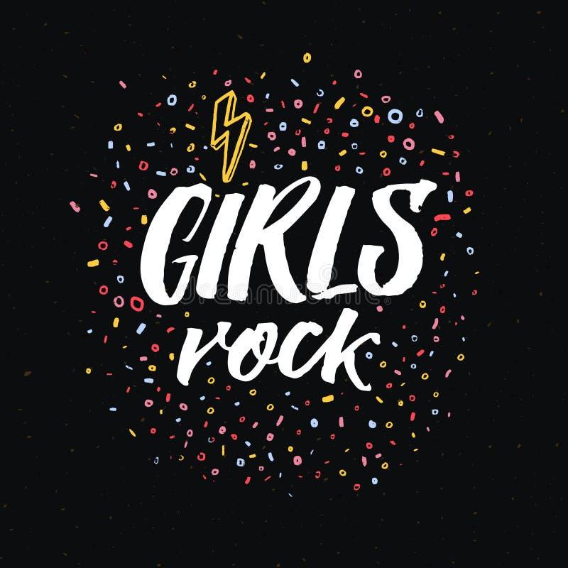 Τα κορίτσια λικνίζουν την επιγραφή Σύνθημα φεμινισμού στο μαύρο υπόβαθρο για τα φεμινιστική γράμματα Τ, την ενδυμασία και το σχέδ ελεύθερη απεικόνιση δικαιώματος