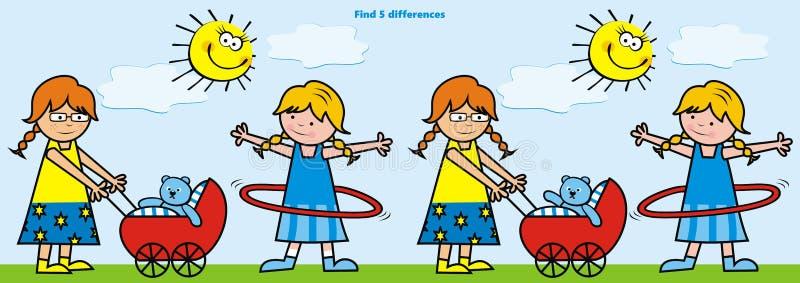 Τα κορίτσια με τα παιχνίδια, παιχνίδι για τα παιδιά, βρίσκουν πέντε διαφορές, eps διανυσματική απεικόνιση