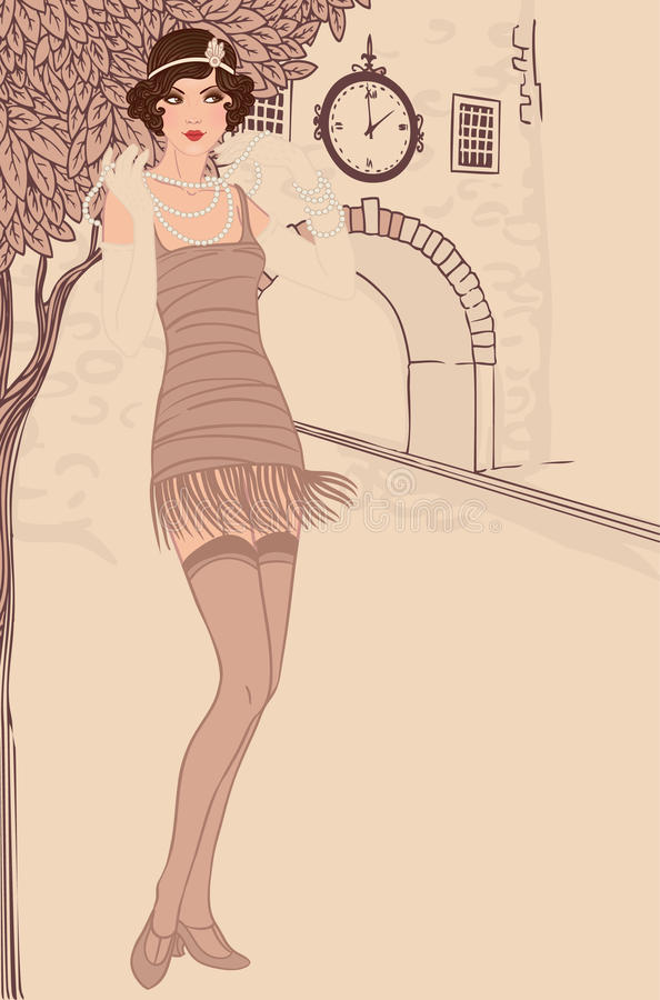 Τα κορίτσια πτερυγίων θέτουν: εκλεκτής ποιότητας ύφος γυναικών in1920s απεικόνιση αποθεμάτων