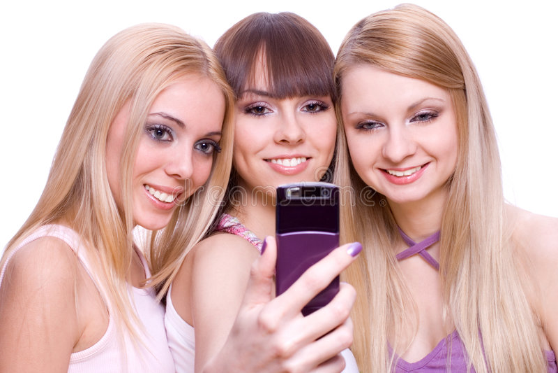 τα κορίτσια τηλεφωνούν σ&eps στοκ φωτογραφία με δικαίωμα ελεύθερης χρήσης