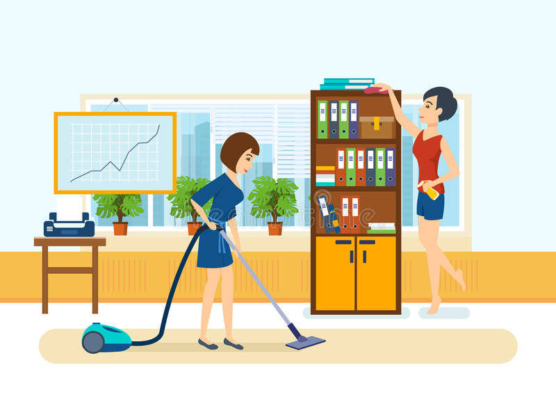 Τα κορίτσια, υπάλληλοι του γραφείου, καθαρίζουν το γραφείο απεικόνιση αποθεμάτων