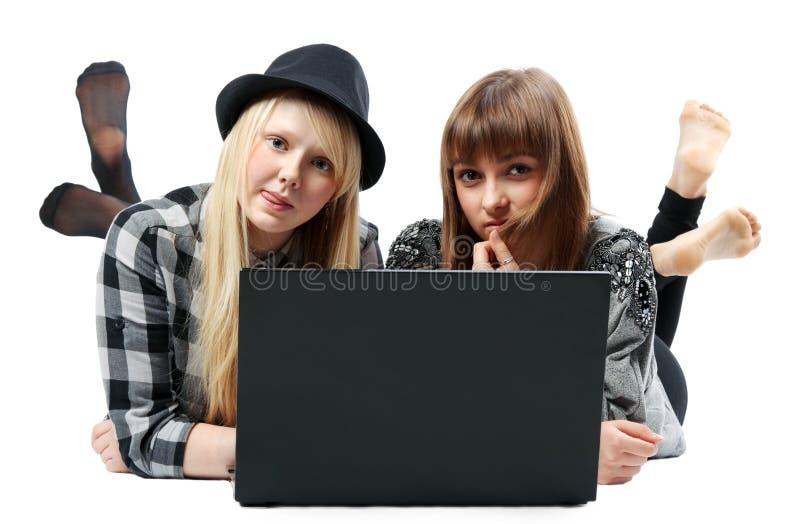 Download τα κορίτσια υπολογιστών στοκ εικόνες. εικόνα από πρόσωπο - 17057220