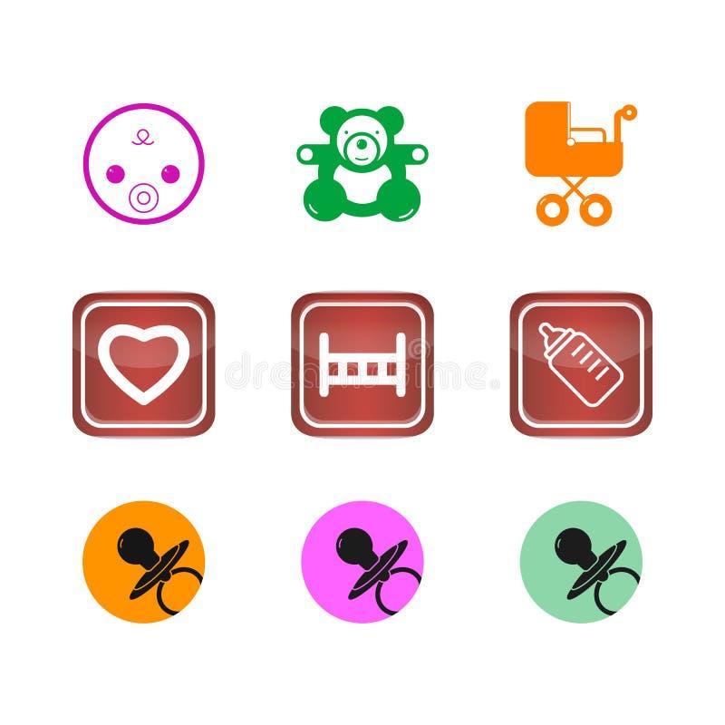Τα κουμπιά εικονιδίων καθορισμένα τον Ιστό μωρών παιδιών διανυσματική απεικόνιση