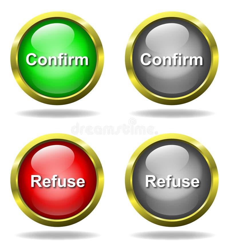 τα κουμπιά επιβεβαιώνου ελεύθερη απεικόνιση δικαιώματος