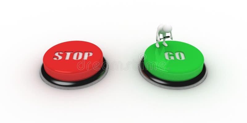 τα κουμπιά πηγαίνουν στάση διανυσματική απεικόνιση