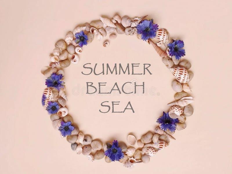 Τα κοχύλια πετρών θάλασσας ανθίζουν το στεφάνι, γιρλάντα, κορώνα, γιρλάντα, στέμμα, ο κυκλίσκος των λουλουδιών χτυπά την μπλε περ στοκ εικόνα με δικαίωμα ελεύθερης χρήσης