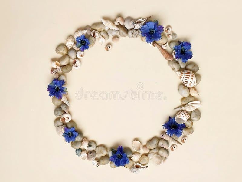 Τα κοχύλια πετρών θάλασσας ανθίζουν το στεφάνι, γιρλάντα, κορώνα, γιρλάντα, στέμμα, ο κυκλίσκος των λουλουδιών χτυπά το μπλε αφηρ στοκ εικόνες με δικαίωμα ελεύθερης χρήσης