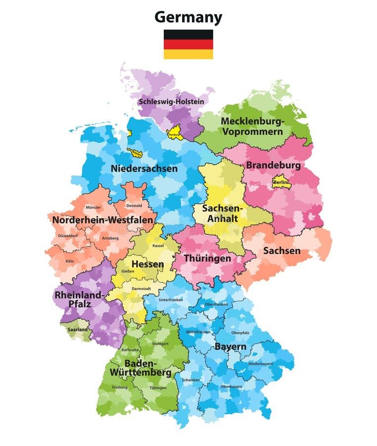 Τα κράτη και οι περιοχές της Γερμανίας χρωμάτισαν το διανυσματικό χάρτη απεικόνιση αποθεμάτων