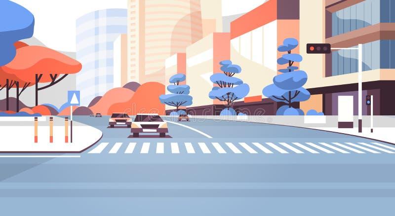 Τα κτήρια οδικών ουρανοξυστών οδών πόλεων βλέπουν το σύγχρονο στο κέντρο της πόλης πίνακα διαφημίσεων εικονικής παράστασης πόλης  ελεύθερη απεικόνιση δικαιώματος