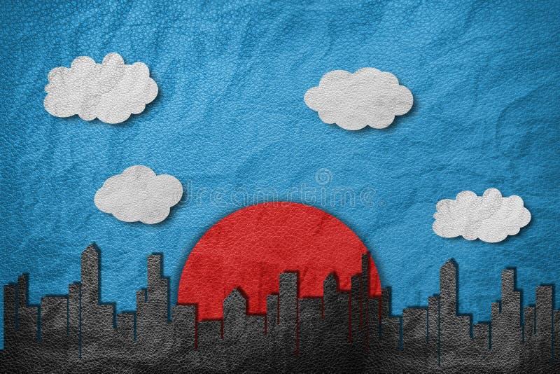 Τα κτήρια στην πόλη με τον κόκκινο ήλιο, το άσπρους σύννεφο και το μπλε ουρανό, έγγραφο δέρματος κόβουν το ύφος στοκ εικόνες