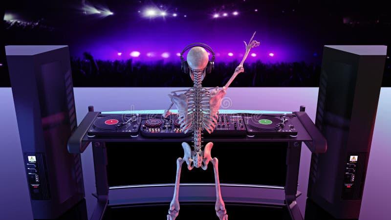 Τα κόκκαλα του DJ, ανθρώπινη παίζοντας μουσική σκελετών στις περιστροφικές πλάκες, σκελετός στη σκηνή με jockey δίσκων τον υγιή ε ελεύθερη απεικόνιση δικαιώματος
