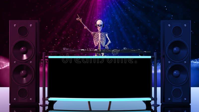 Τα κόκκαλα του DJ, ανθρώπινη παίζοντας μουσική σκελετών στις περιστροφικές πλάκες, σκελετός με jockey δίσκων τον υγιή εξοπλισμό,  ελεύθερη απεικόνιση δικαιώματος