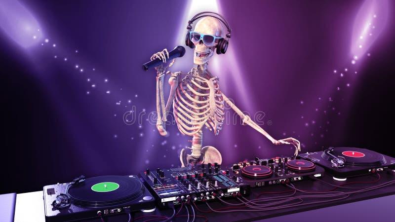 Τα κόκκαλα του DJ, ανθρώπινος σκελετός με την παίζοντας μουσική μικροφώνων στις περιστροφικές πλάκες, σκελετός με jockey δίσκων τ ελεύθερη απεικόνιση δικαιώματος