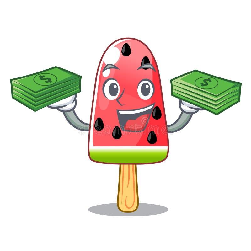 Τα κόκκινα κινούμενα σχέδια παγωτού καρπουζιών χρημάτων που διαμορφώνονται με απεικόνιση αποθεμάτων