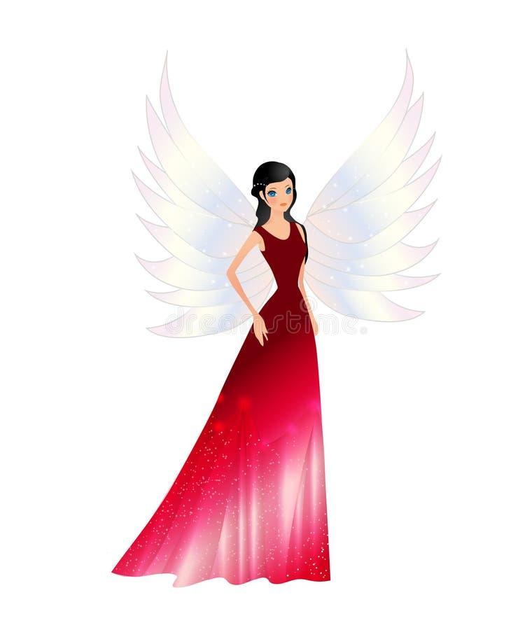 Τα κόκκινα κομψά φτερά αγγέλου νεράιδων όμορφα σύρουν διανυσματική απεικόνιση