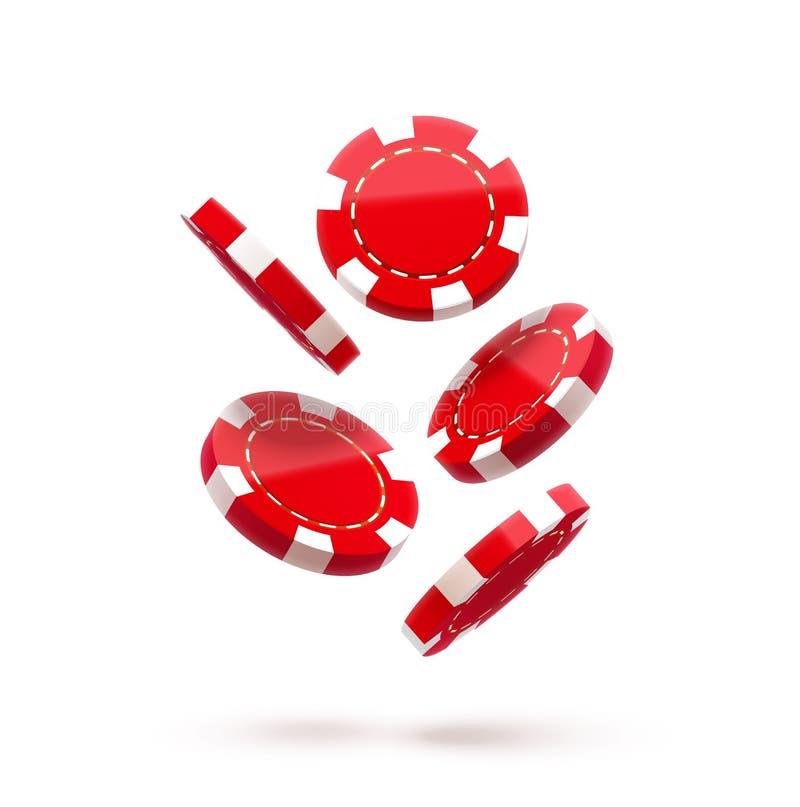 Τα κόκκινα τσιπ χαρτοπαικτικών λεσχών, στο λευκό, πελεκούν το εικονίδιο, στον αέρα, πτώση κάτω, ρεαλιστικά αντικείμενα, με τις σκ ελεύθερη απεικόνιση δικαιώματος