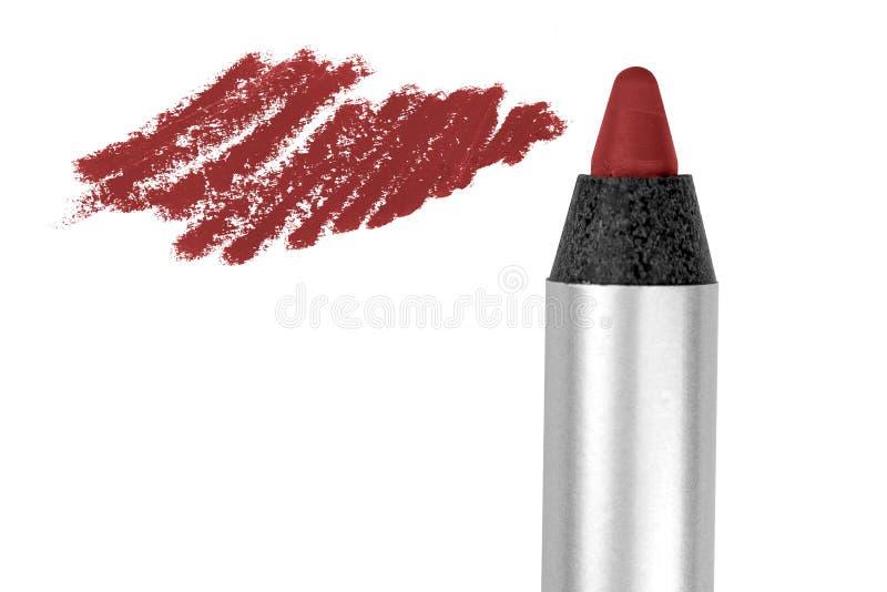 Τα κόκκινα χείλια περιγράφουν το καλλυντικό μολύβι με το δείγμα κτυπήματος χρώματος, προϊόν ομορφιάς που απομονώνεται στο άσπρο υ στοκ φωτογραφίες με δικαίωμα ελεύθερης χρήσης