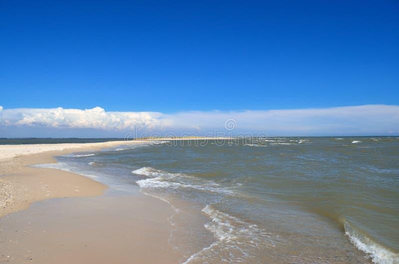 Τα κύματα θάλασσας πλένουν την καθαρή αμμώδη παραλία Τοπίο σε μια άγρια παραλία στοκ φωτογραφίες