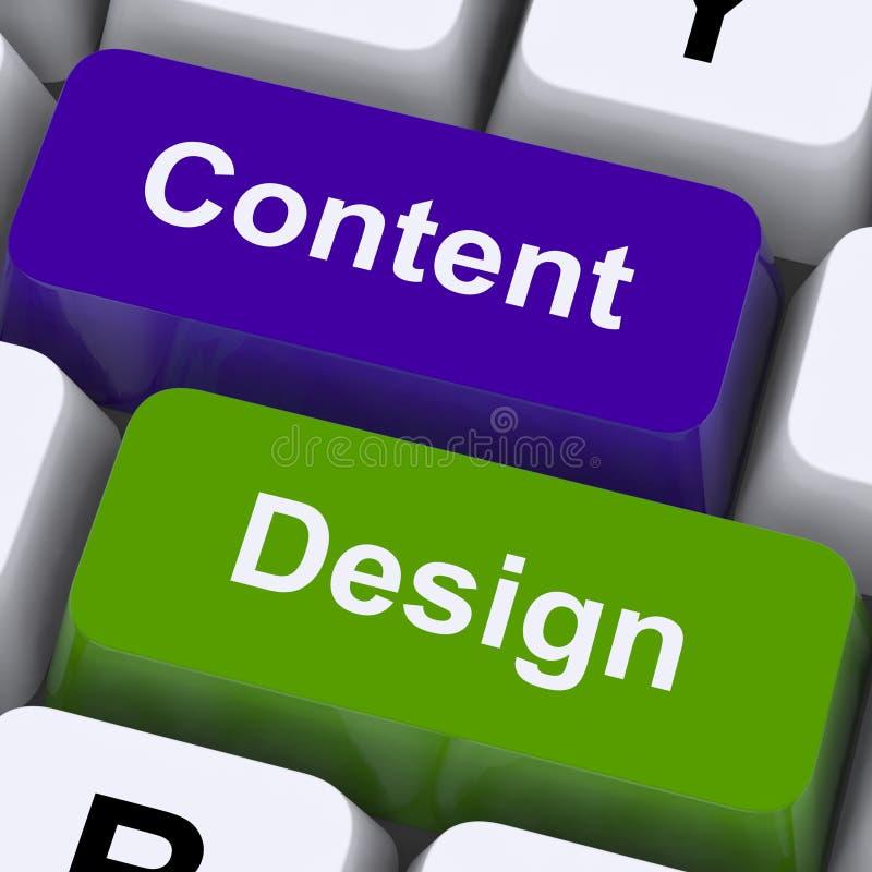 Τα κλειδιά περιεχομένου και σχεδίου παρουσιάζουν δημιουργική προώθηση στοκ εικόνα