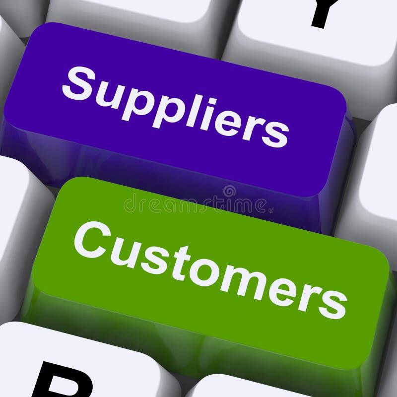 Τα κλειδιά προμηθευτών και πελατών παρουσιάζουν τη αλυσίδα εφοδιασμού ή διανομή στοκ εικόνες