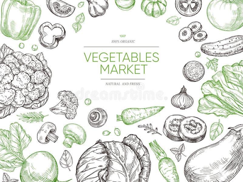 Τα λαχανικά δίνουν το συρμένο υπόβαθρο Φυτικό σύνολο οργανικής τροφής Vegan διανυσματικό σχέδιο επιλογών σκίτσων διανυσματική απεικόνιση